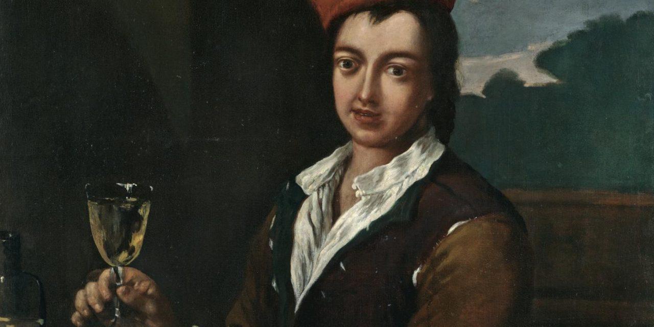 """""""Retrato de un niño sentado a la mesa con una copa de vino y dos filetes"""" (1710), de Antonio Amorosi"""