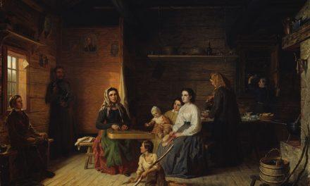 """Kreeta Haapasalo Playing the Kantele in a Peasant Cottage"" (1869), de Robert Wilhelm Ekman"