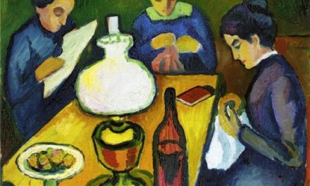 """Three Women at the Table by the Lamp"" (1912), de August Macke"