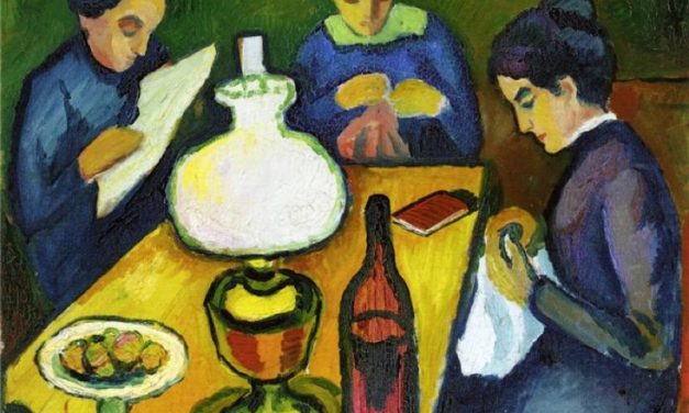 """""""Three Women at the Table by the Lamp"""" (1912), de August Macke"""