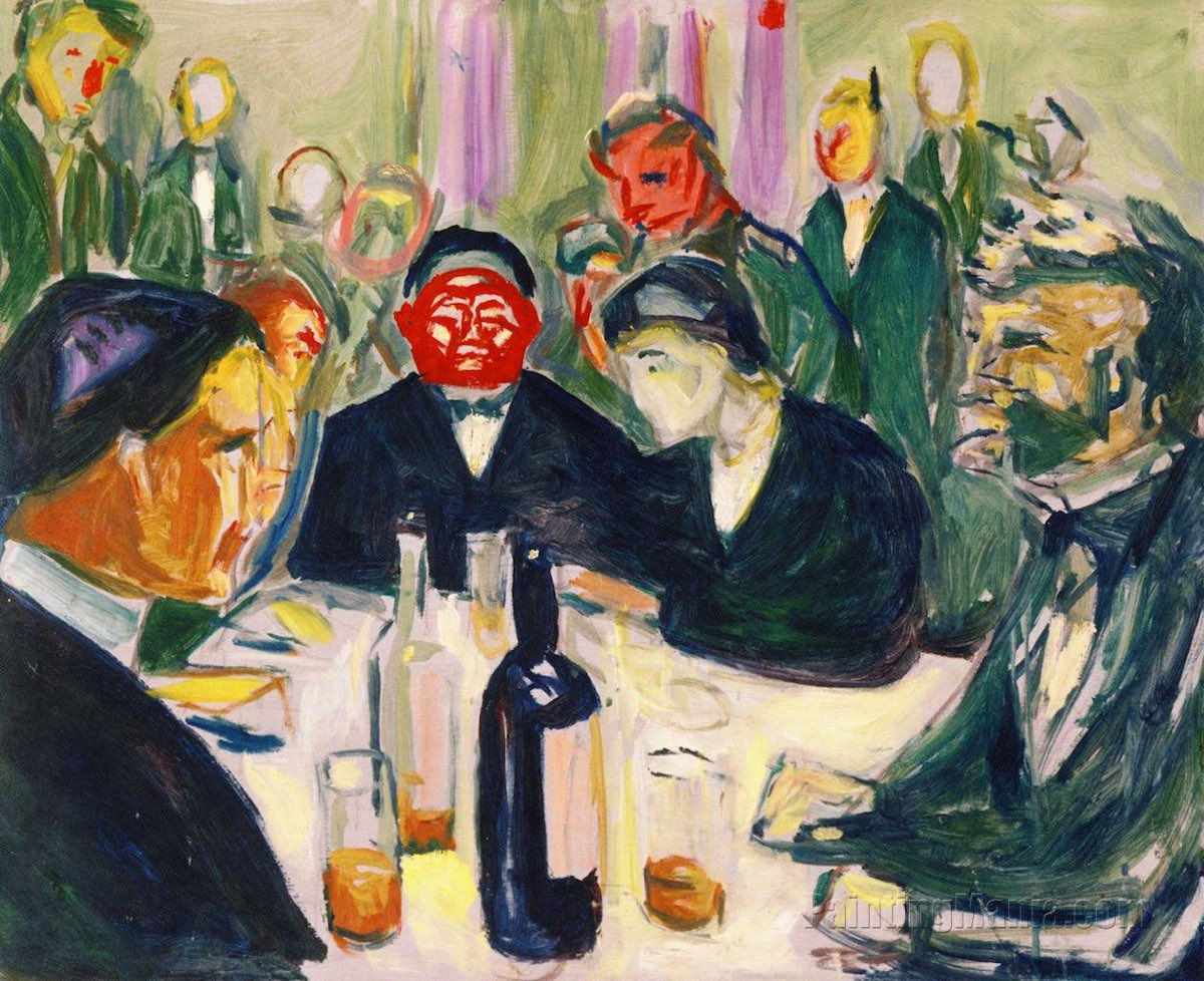 Around the Drinking Table (1927-1930), de Edvard Munch