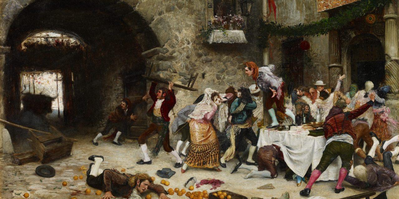 """""""Banquete interrumpido"""" (1901), de Juan José Gárate Clavero"""
