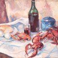 Bodegón con botella de vino y limones (1926), de Henri Catargi