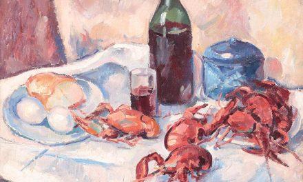 """Bodegón con botella de vino y limones"" (1926), de Henri Catargi"