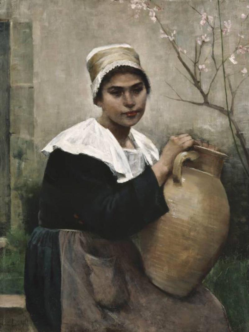 Chica bretona con un frasco en la mano (1884), de Amélie Lundahl