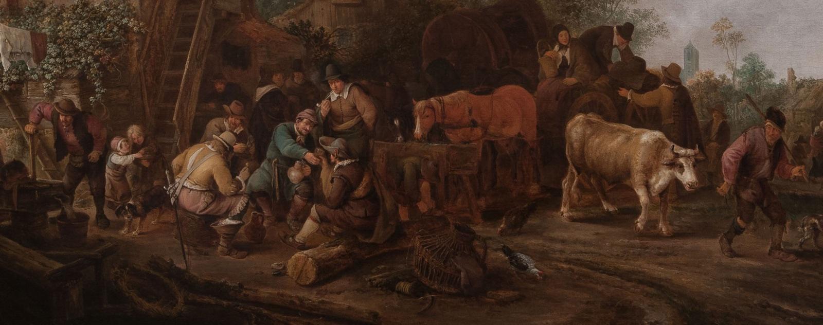 """""""Figuras afuera de una posada"""", 1647, de Isack van Ostade (1621-1649) ha sido reconocido desde hace tiempo como uno de los mejores ejemplos de la obra de Isack van Ostade, admirado tanto por su vivacidad y variedad de detalles como por la calidez de su colorido y su magistral disposición de luces y sombras."""