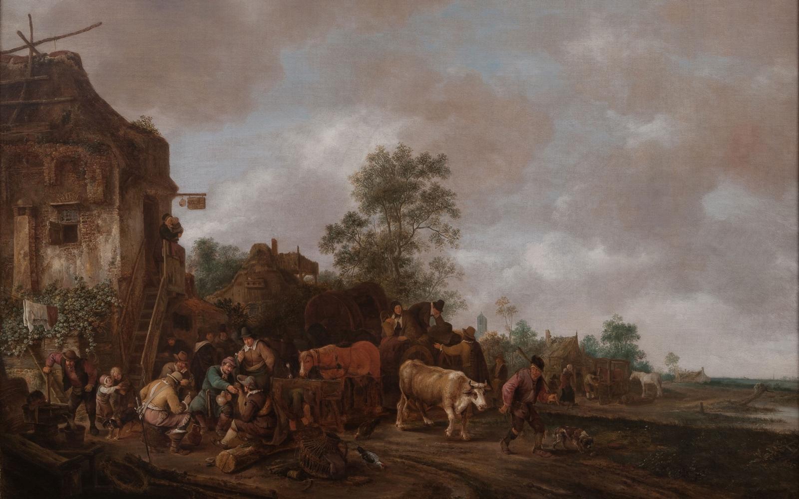 Figuras afuera de una posada (1647), de Isack van Ostade