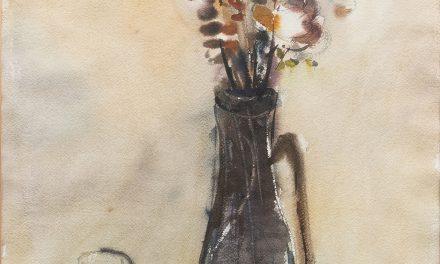 """""""Flores en florero y una copa de vino"""" (1980), de Nandor Mikola"""