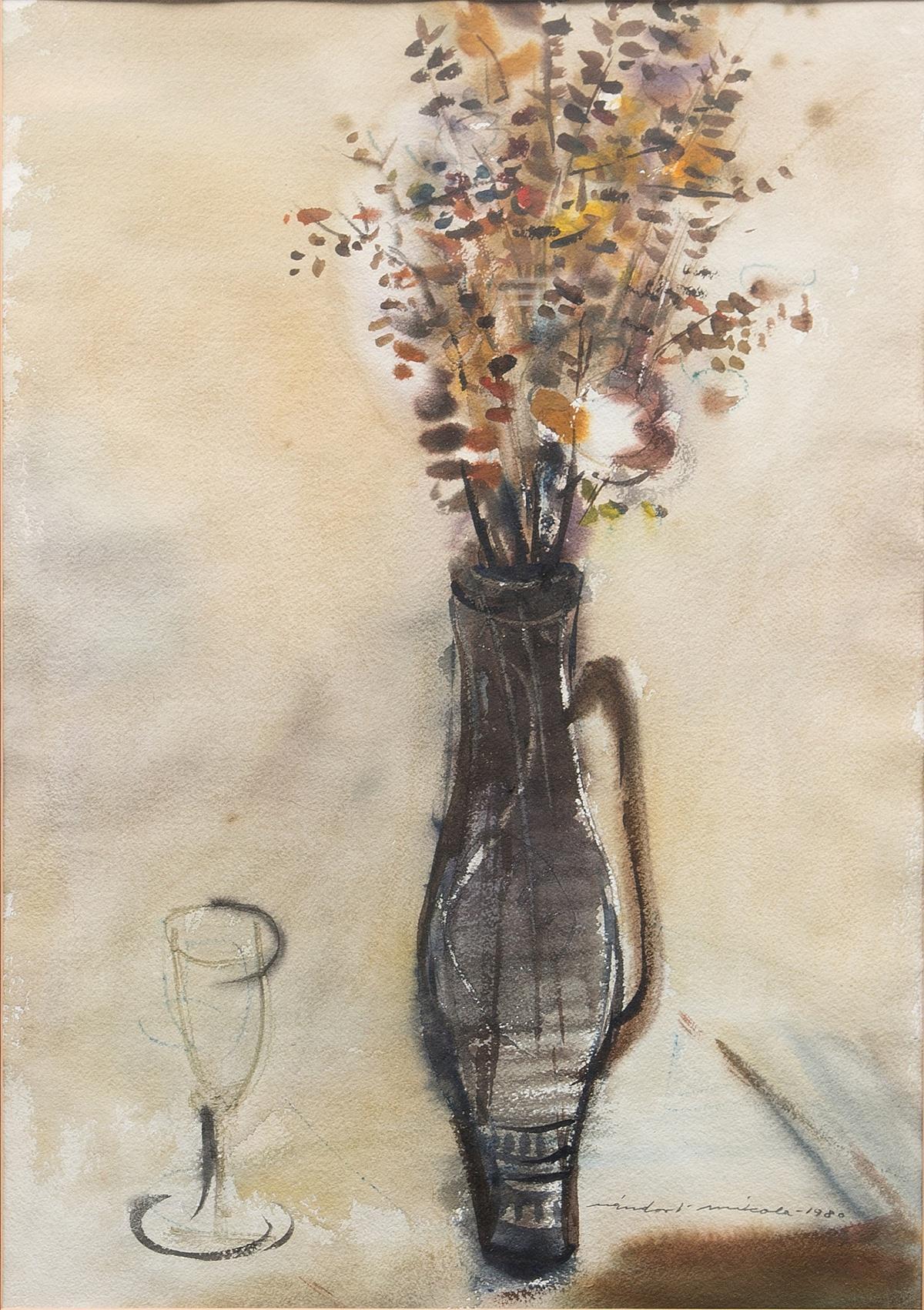 Flores en florero y una copa de vino (1980), de Nandor Mikola