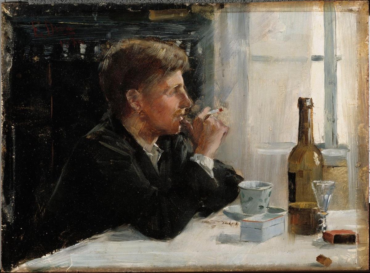 Hombre sentado a la mesa (1886), de Elin Danielson-Gambogi