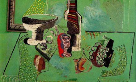 """""""Jarrón, vaso, botella y fruta. Naturaleza muerta verde"""" (1914), de Pablo Picasso"""