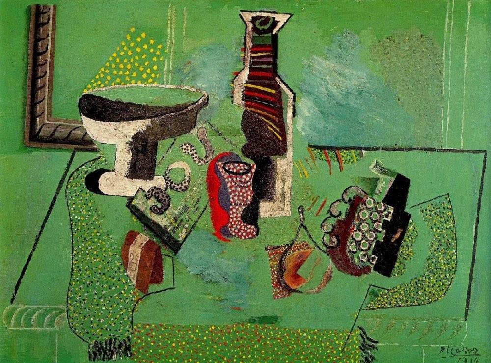 Jarrón, vaso, botella y fruta. Naturaleza muerta verde (1914), de Pablo Picasso