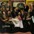 The Vorticists at the Restaurant de la Tour Eiffel: Spring, 1915 1961-2 by William Roberts 1895-1980