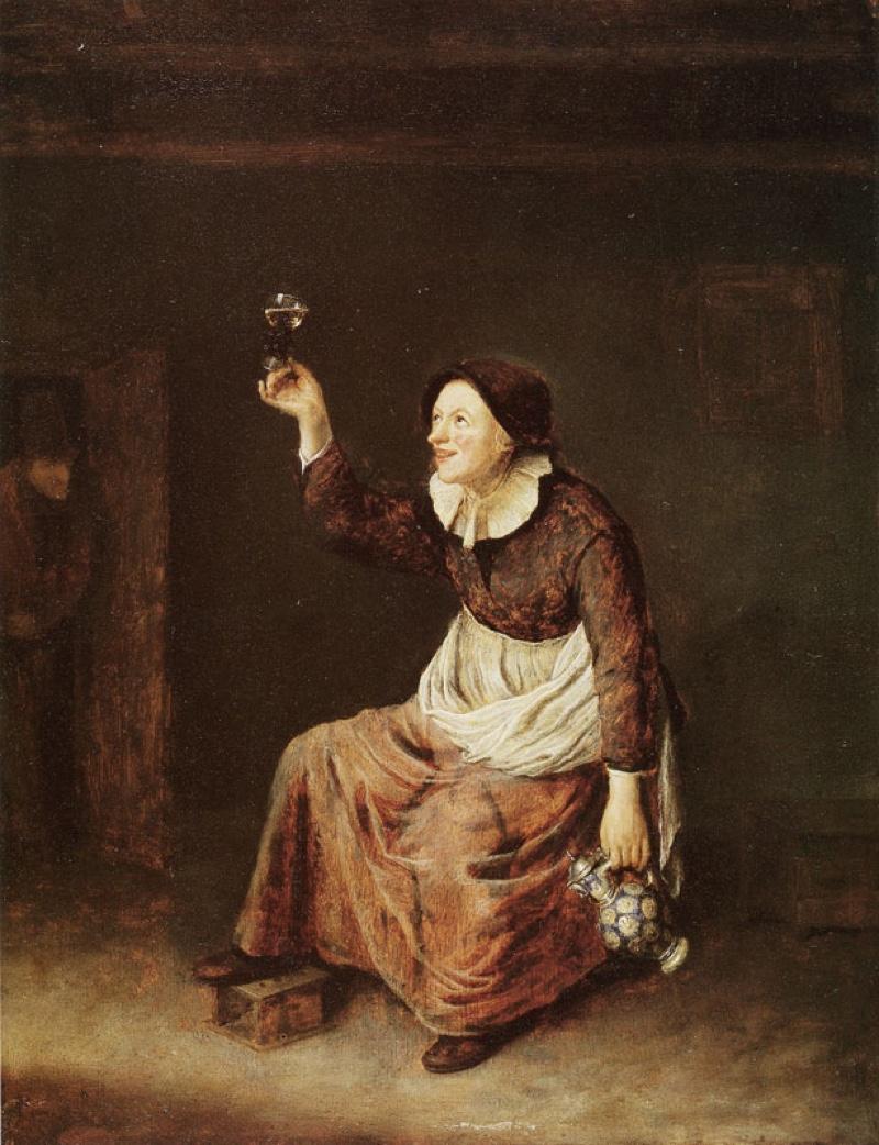 Mujer bebiendo (1648), de Philips Koninck