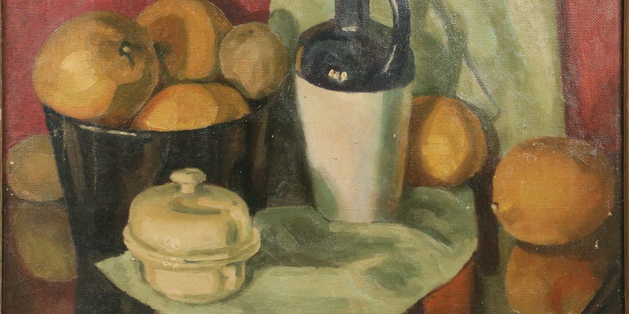 """Naturaleza muerta con fruta, jarra y vajilla"" (1916), de Walt Kuhn"