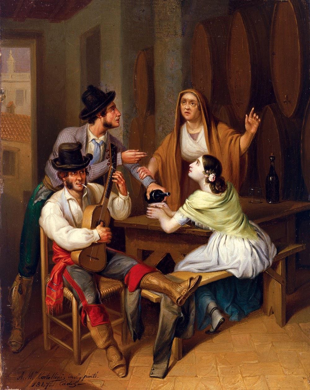 No más vino. Escena de taberna (1847), de Ángel María Cortellini
