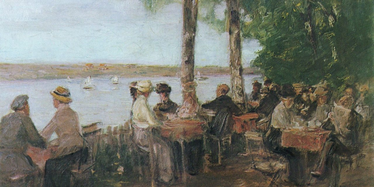 """""""Restaurante en el jardín junto al agua"""" (1915), de Max Liebermann"""