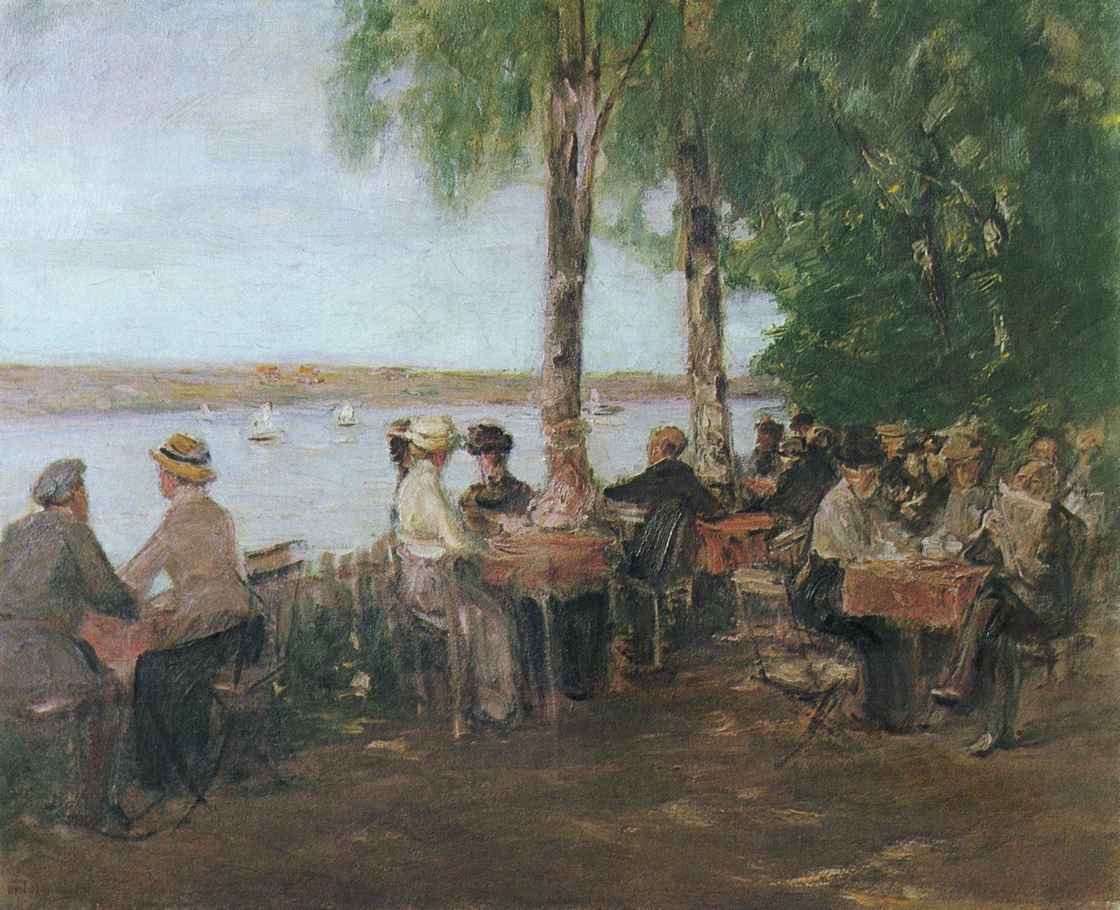Restaurante en el jardín junto al agua (1915), de Max Liebermann