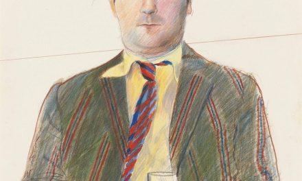 """""""Retrato de Peter Langan con una copa de vino"""" (1970), de David Hockney"""