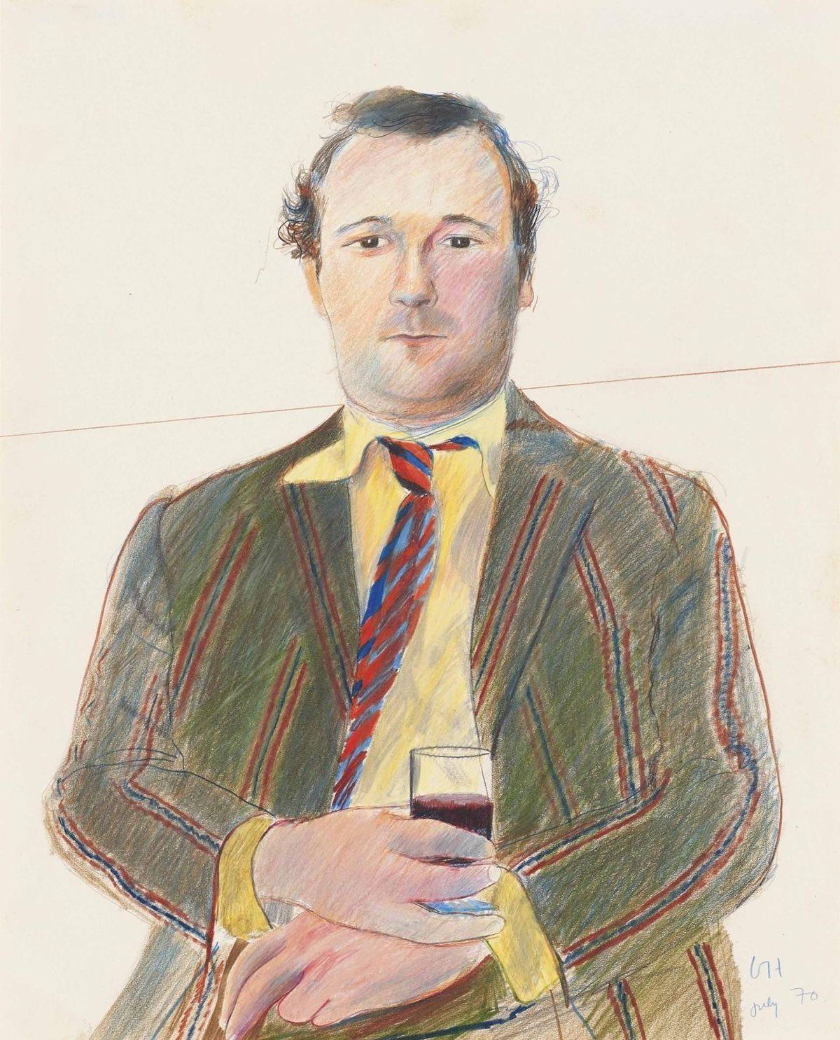 Retrato de Peter Langan con una copa de vino (1970), de David Hockney