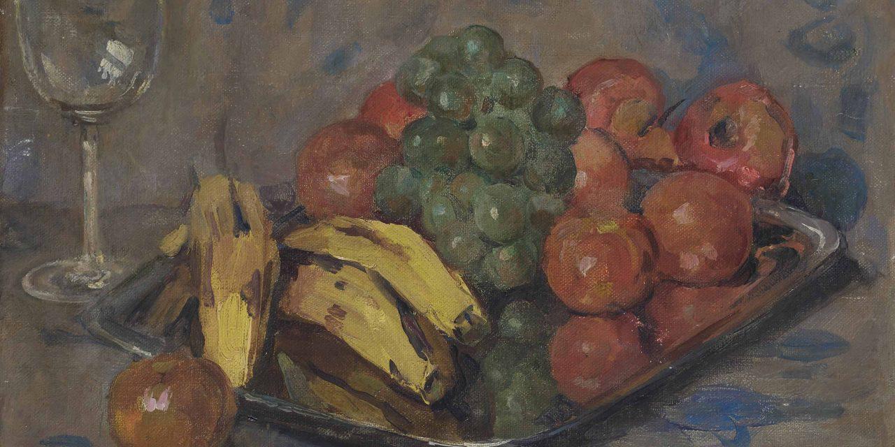 """""""Un bodegón con frutas y una copa de vino"""" (1903), de Auguste Herbin"""