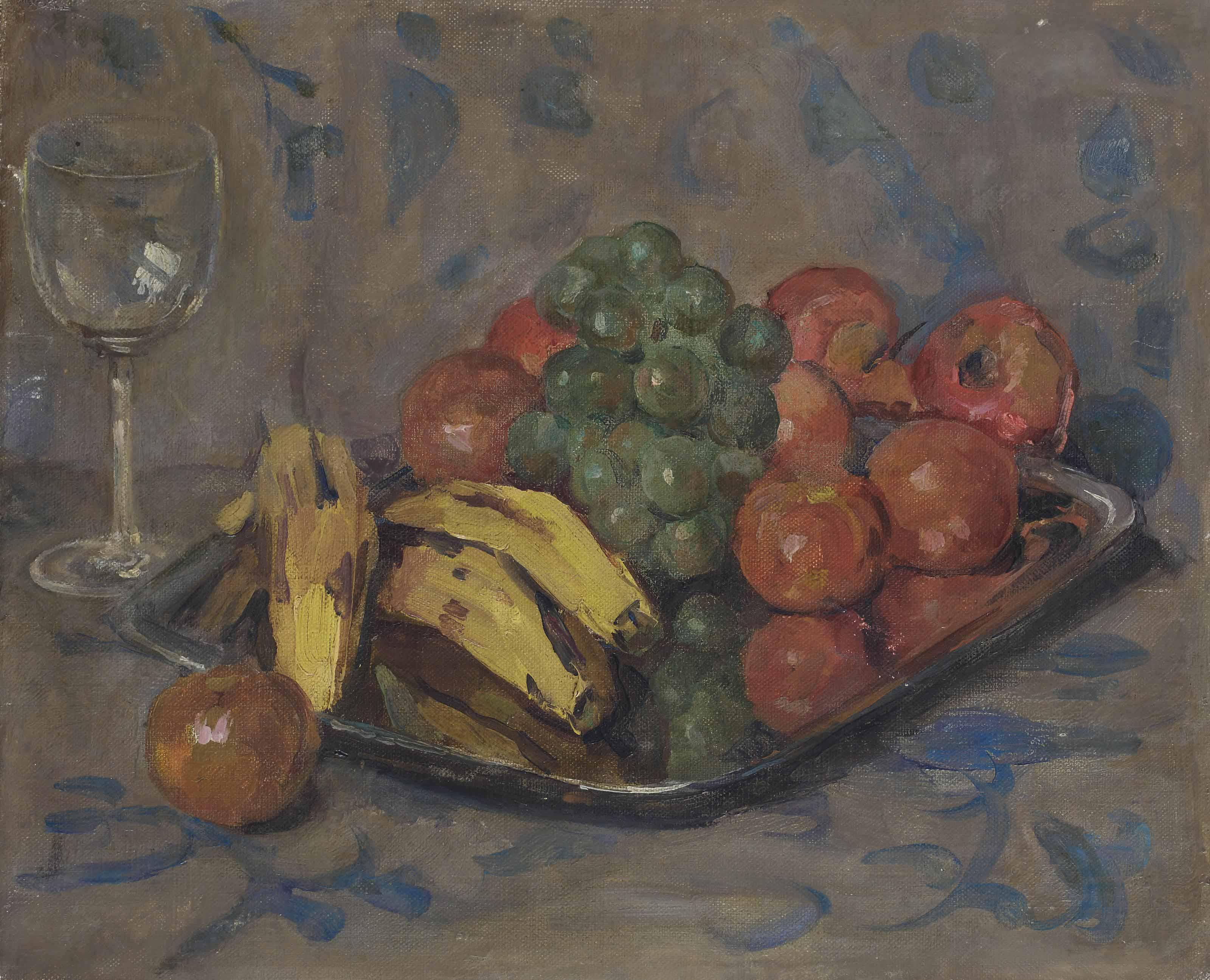 Un bodegón con frutas y una copa de vino (1903), de Auguste Herbin