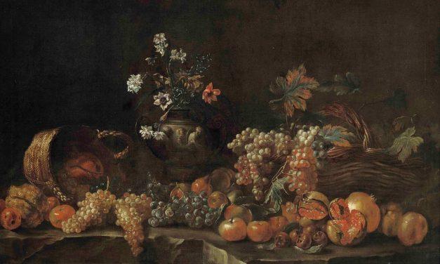 """""""Uvas, granadas, manzanas, limones, cestas de mimbre y un jarrón esculpido con flores en una repisa"""" (1690), de Jean-Baptiste Monnoyer"""