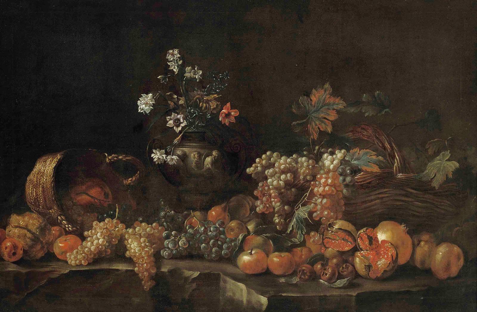 Uvas, granadas, manzanas, limones, cestas de mimbre y un jarrón esculpido con flores en una repisa (1690), de Jean-Baptiste Monnoyer
