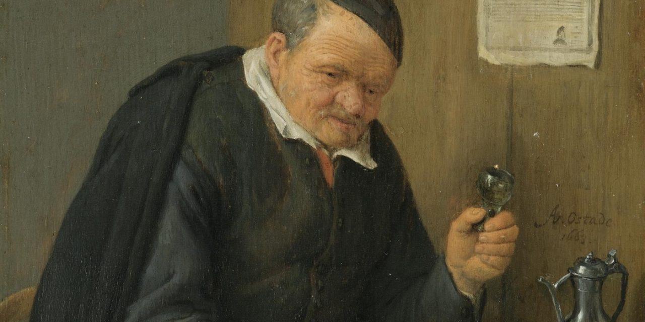 """""""Viejo con una copa de vino"""" (1663), de Adriaen van Ostade"""