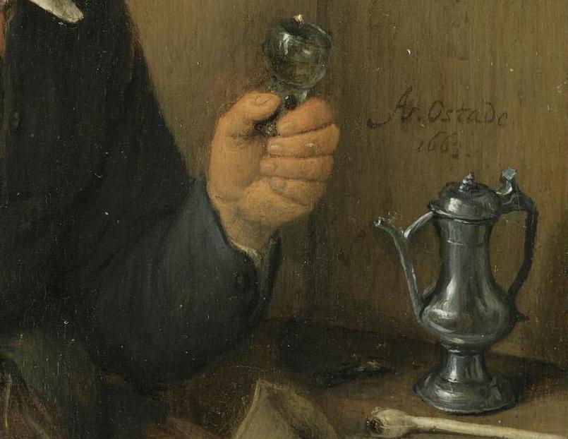 Viejo con una copa de vino (1663), de Adriaen van Ostade 2