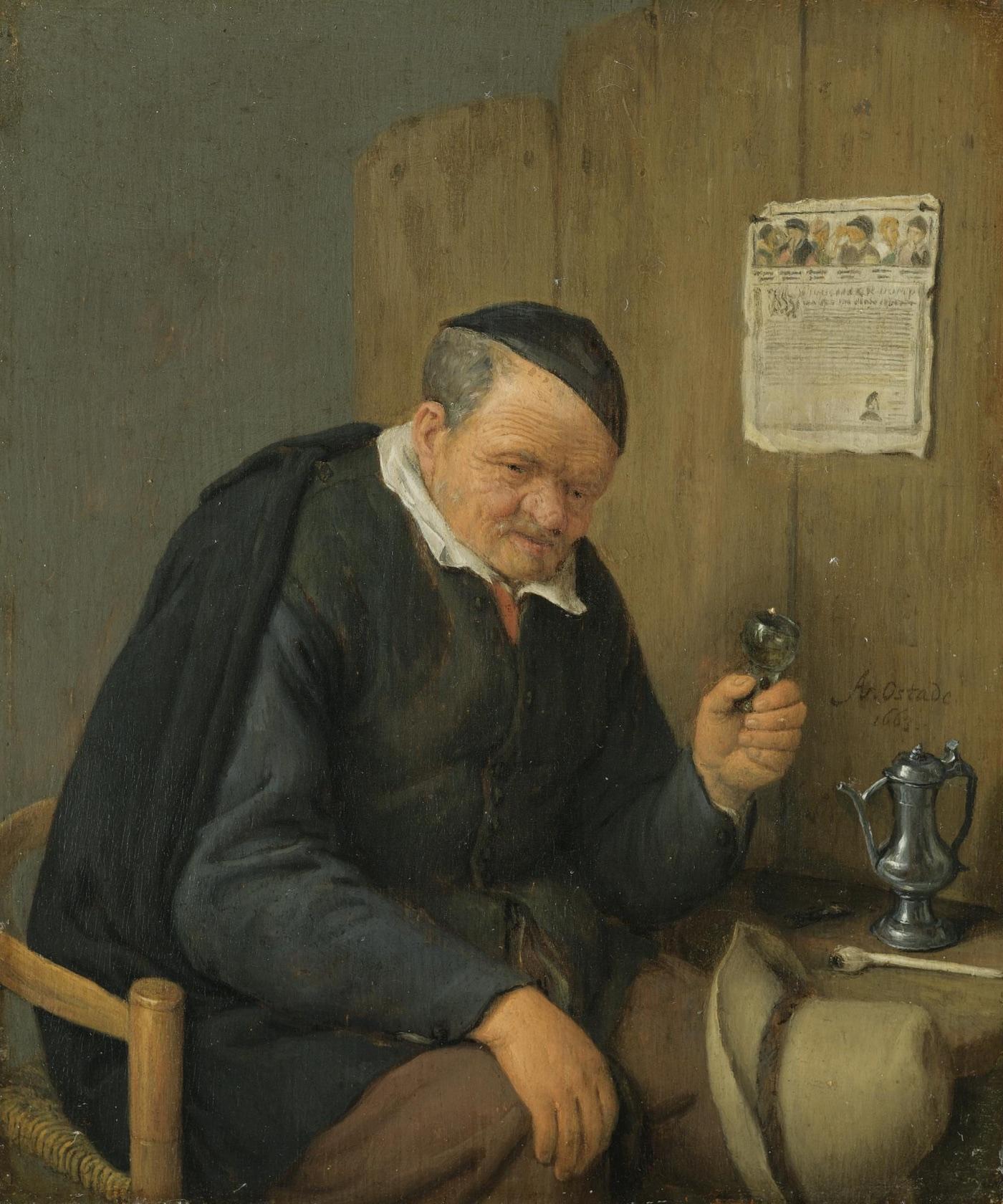 Viejo con una copa de vino (1663), de Adriaen van Ostade