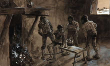 """""""Escena de El Quijote: Don Quijote y Sancho en la venta"""" (1870), de José Jiménez Aranda"""