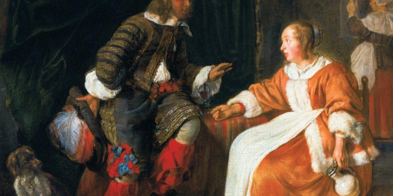 """""""Mujer ofreciendo una copa de vino a un hombre"""" (1658-1660), de Gabriel Metsu"""