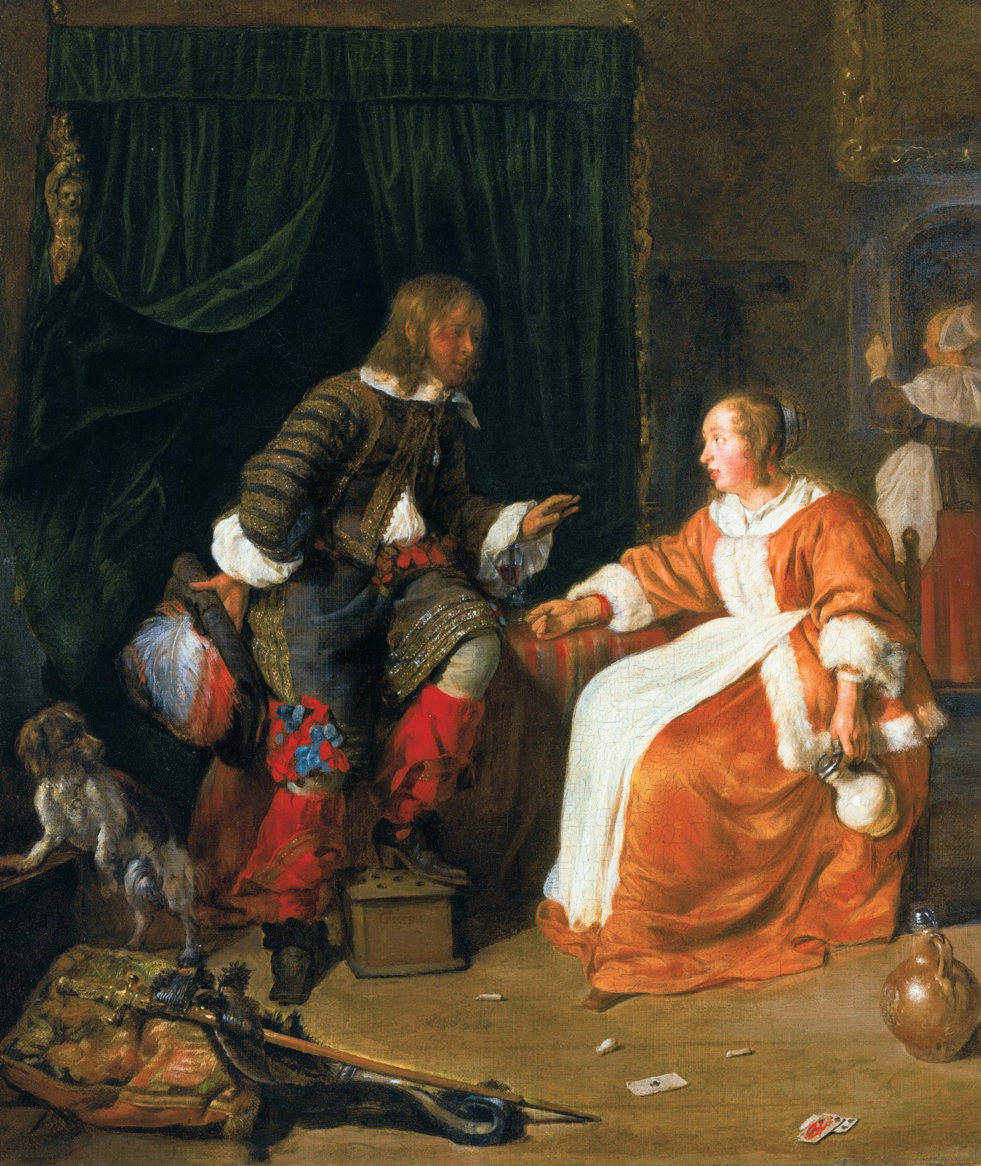 Woman offering a glass of wine to a man, by Gabriel Metsu