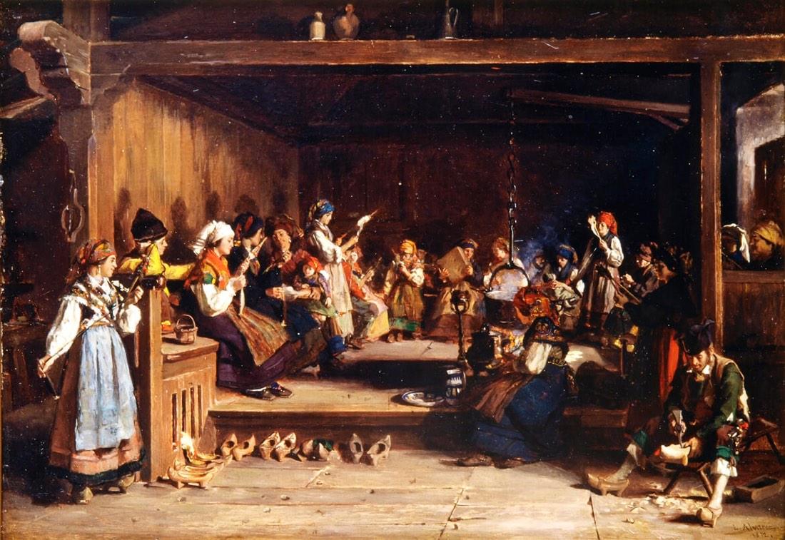 """""""Filandón en Monasterio de Hermo"""" (1872), de Luis Álvarez Catalá"""