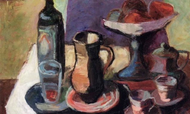 """""""Bodegón con botella de vino"""" (sobre 1930), de Louis Valtat"""