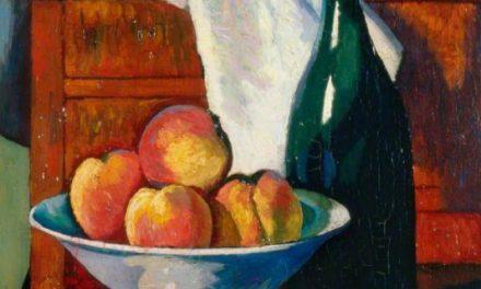 """""""Naturaleza muerta con fruta y una botella"""" (1912), de Edward Wadsworth"""