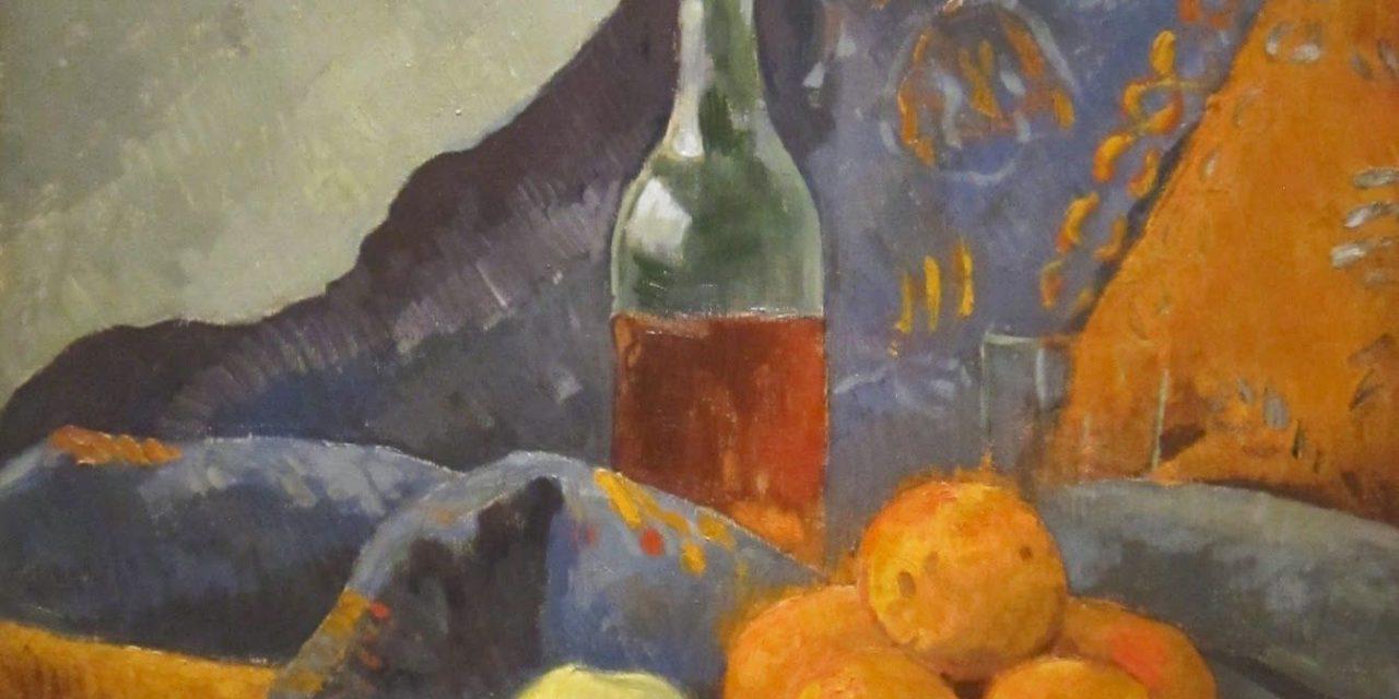 """""""Bodegón con fruta y botella de vino"""" (1909), de Paul Sérusier"""