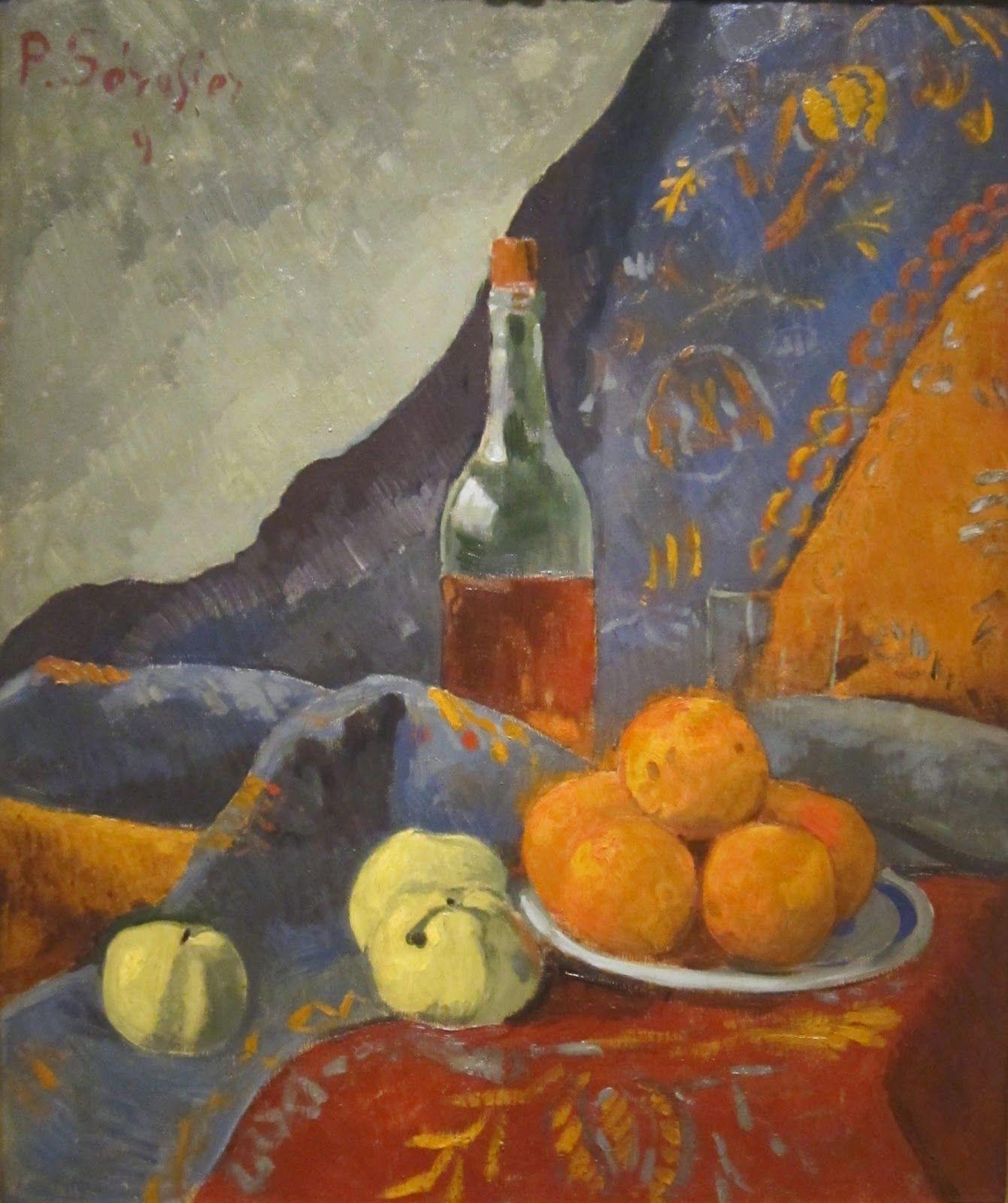 Bodegón con fruta y botella de vino (1909), de Paul Sérusier