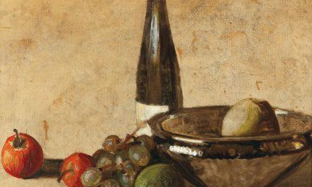 """""""Bodegón con botella de vino y fruta"""" (1948), de Kurt Schwitters"""