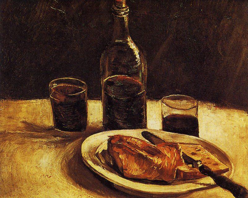 """""""Bodegón con plato, vasos y botella de vino"""" (1886), de Vincent van Gogh"""