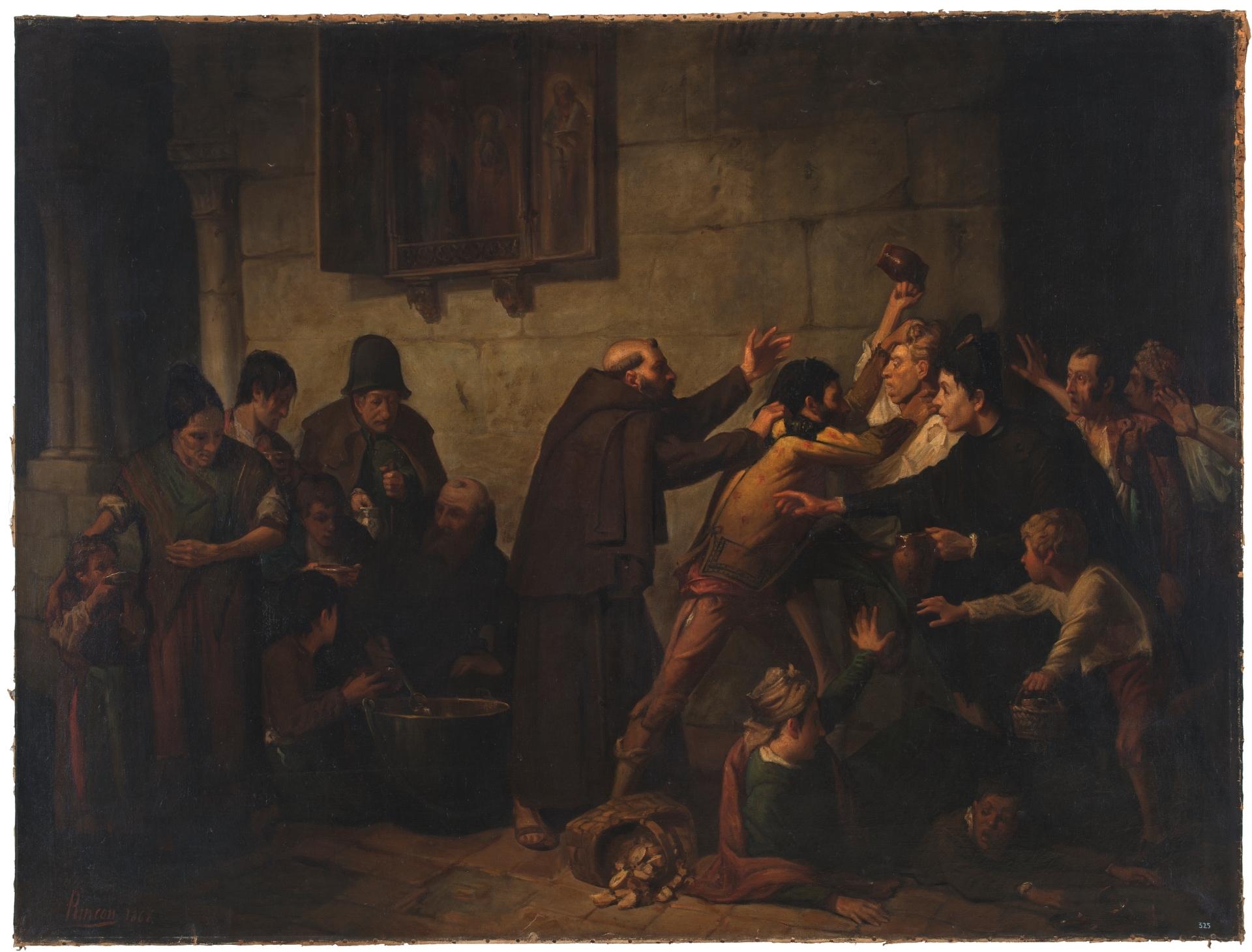 El reparto de la sopa en un convento de capuchinos (1866), de Serafín Martínez del Rincón y Trives