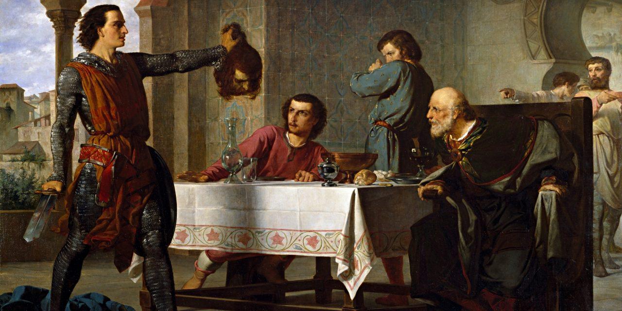 """""""Primera hazaña del Cid"""" (1864), de Juan Vicens Cots"""