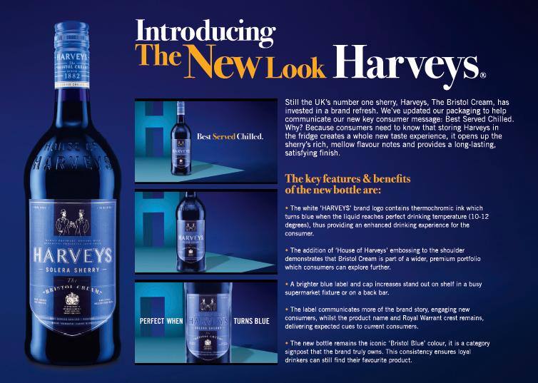 Con el fin de renovar su imagen y acercarse a un público más joven, HARVEYS BRISTOL CREAM lanza ahora al mercado un nuevo diseño de su emblemática botella azul y una nueva etiqueta termosensible que cambiará de color cuando el producto esté en el momento perfecto para consumirse. Se trata de un sherry de gran personalidad como se refleja en su nuevo packaging, en el que destaca su atractivo vidrio de color azul cobalto, que llega para revolucionar a la familia de los vinos de Jerez.