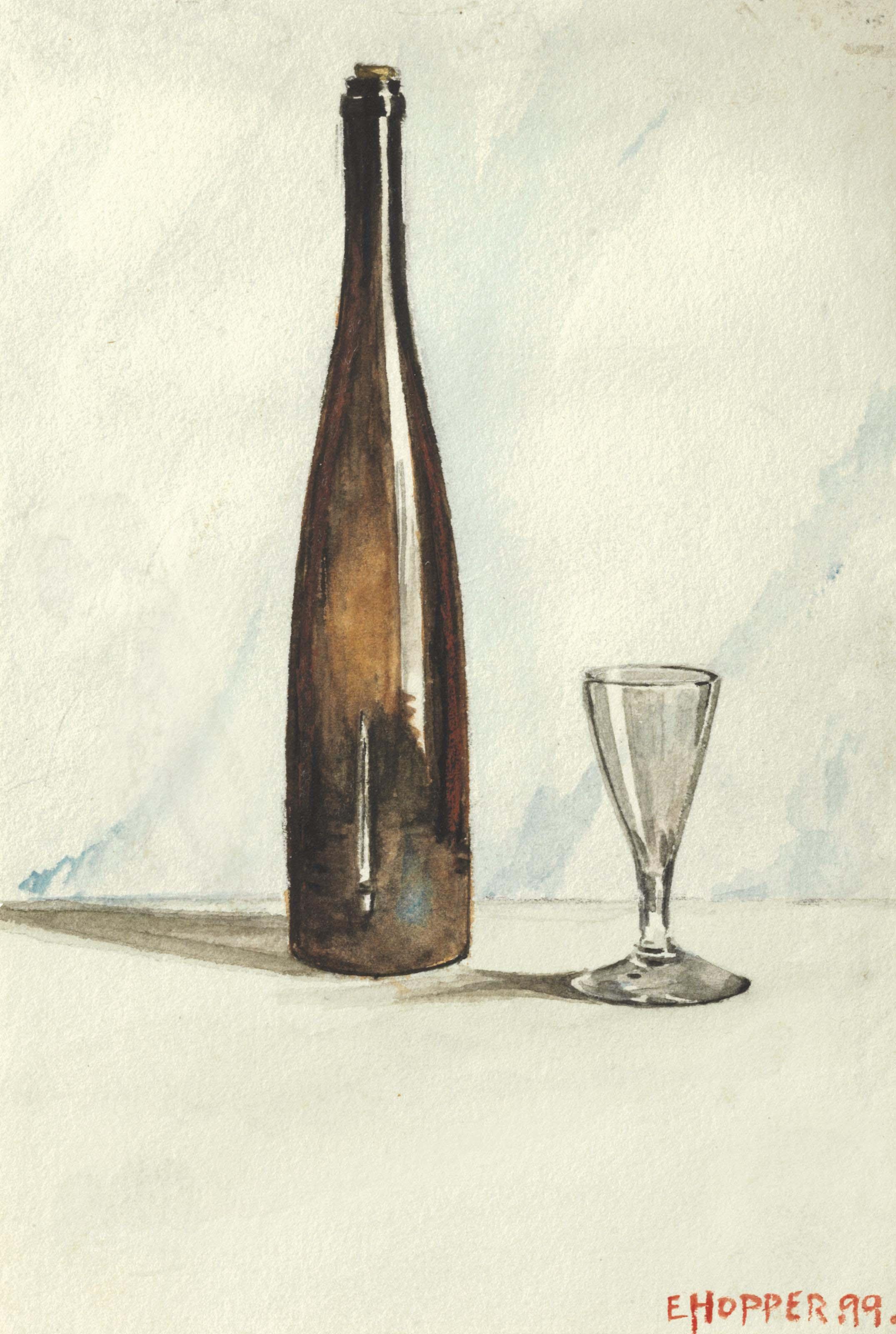"""Bodegón con botella de vino y vaso"" (1899), de Edward Hopper"