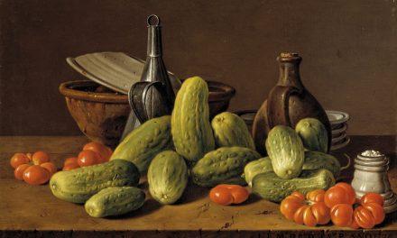 """""""Bodegón con pepinos, tomates y recipientes"""" (1774), de Luis Egidio Meléndez"""