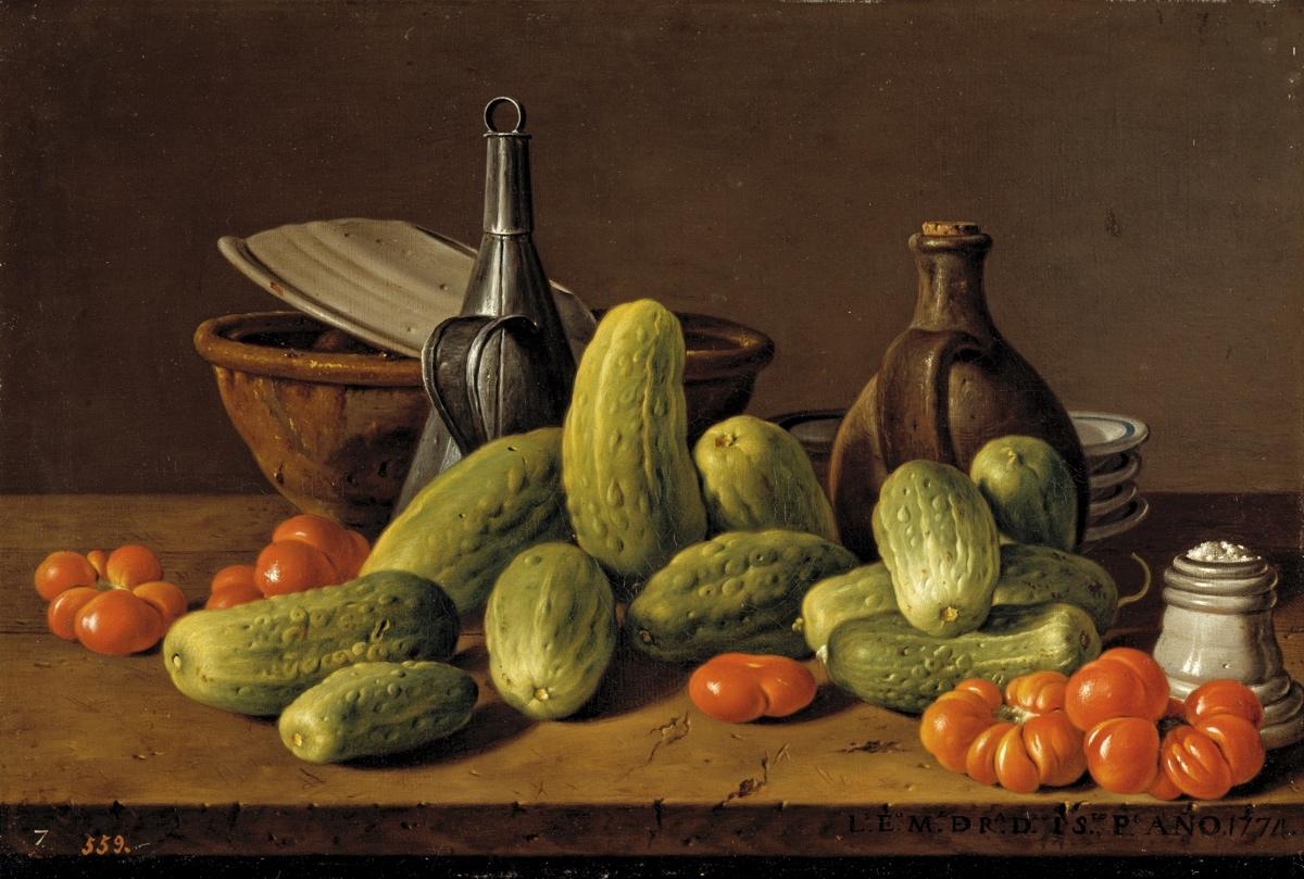Bodegón con pepinos, tomates y recipientes (1774), de Luis Egidio Meléndez
