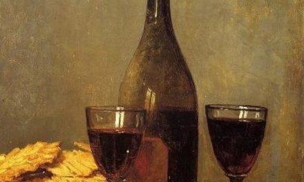 """Bodegón con botella y dos copas de vino"" (1852), de Albert Anker"