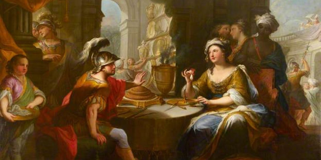 """""""Cleopatra disolviendo la perla en el vino"""" (1747), de Andrea Casali"""