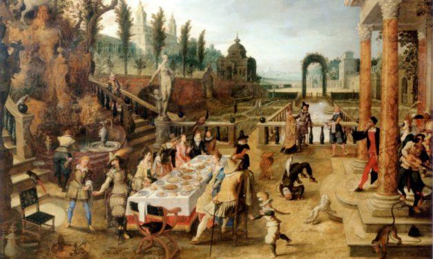 """""""Banquete en el jardín de un palacio italiano"""" (1602), de Sebastian Vrancx"""